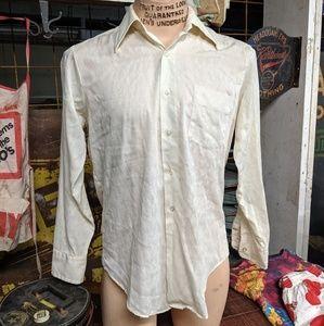 Venture 1970s White Button Up Disco Shirt Vintage